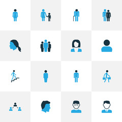Person Colorful Icons Set. Collection Of Contact, Personal Data, Oldster And Other Elements. Also Includes Symbols Such As Profile, Pulling, Businessman.