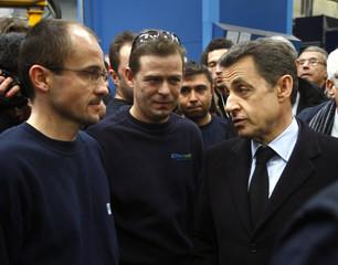 France's President Sarkozy visits the French solar panel maker Photowatt in Bourgoin-Jallieu