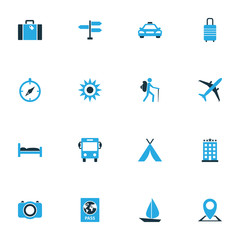 Exploration Colorful Icons Set. Collection Of Taxi, Compass, Sun And Other Elements. Also Includes Symbols Such As Baggage, Aircraft, Camera.