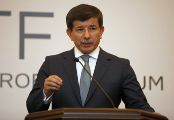 Turkish Foreign Minister Davutoglu speaks during a news conference at the Global Counterterrorism Forum in Istanbul