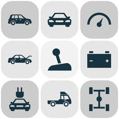 Auto Icons Set. Collection Of Car, Wheelbase, Plug And Other Elements. Also Includes Symbols Such As Lorry, Plug, Automobile.