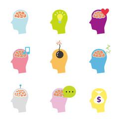 頭と脳のアイコン セット