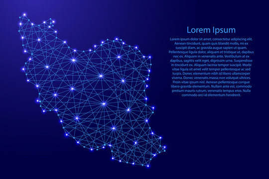 Map of Iran from polygonal blue lines and glowing stars vector illustration