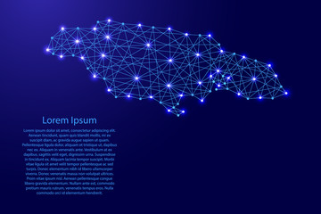 Map of Jamaica from polygonal blue lines and glowing stars vector illustration