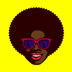 Smiling groovy cool dude face, black man with afro hair and stylish sunglasses vector illustration