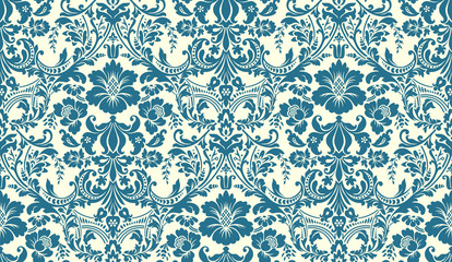 Vector seamless damask pattern. Blue and ivory image. Rich ornament, old Damascus style pattern for wallpapers, textile, Scrapbooking etc.