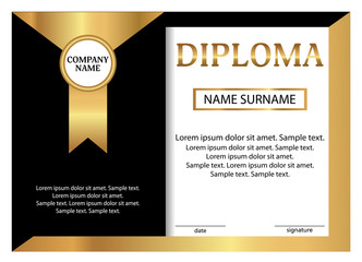 Diploma or certificate. Golden and black template. Vector