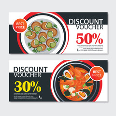 Discount voucher french food template design. Set of escargot, bouillabaisse