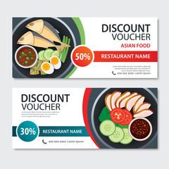 Discount voucher asian food template design. Thailand set