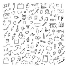 Doodle home related trendy elements.