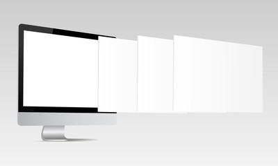Responsive screen mockup. Computer monitor with blank screen and blank framework web pages. Template for responsive web-design or showing screenshots. Vector illustration