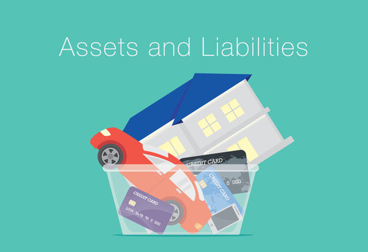 House and car and credit card and telephone in translucent box. Illustration about between assets and liabilities.