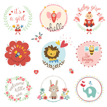 Kids elements, labels, frames, floral wreaths, baby girl, flowers, hearts, cartoon elephant, lion cub, cute rabbit, bee, bird, toys, and typographic design.