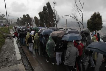 Bolivian students march from El Alto to participate in a protest rally in La Paz