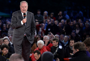 Social Democratic top candidate Steinbrueck delivers his speech during an election campaign rally in Hamburg