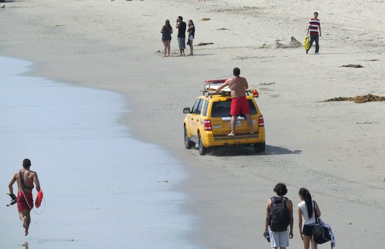 Lifeguards search for victims of a lightning strike that injured multiple people in Venice