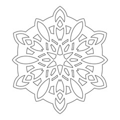 Ornate decorative snowflake on a white background. Flat linear silhouette, lace