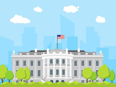Cartoon White House Building. Vector