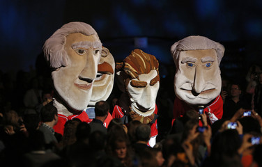 Presidential puppets are shown in the Kids Inaugural concert for children and military families, one of the events ahead of the second-term inauguration of U.S. President Barack Obama in Washington