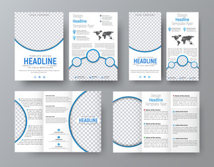 Templates of flyers, brochures of standard size for business with blue elments