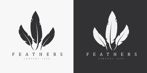 Logo design with three feathers and company name.