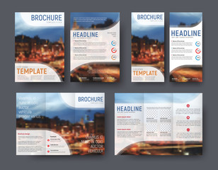 Set brochute and flyer with blurred photo for sample