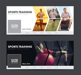 Design social banners for sports, jogging, gym with images in the form of an arrow