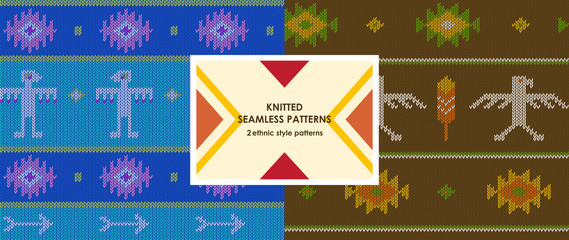Knited boho vector pattern; knited seamless pattern with aztec arrows, eagles and feathers
