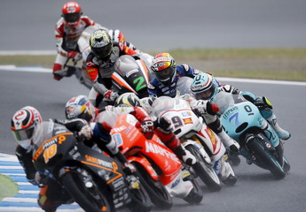 Honda Moto3 rider Vazquez of Spain and other riders compete during the Japanese Grand Prix at the Twin Ring Motegi circuit in Motegi
