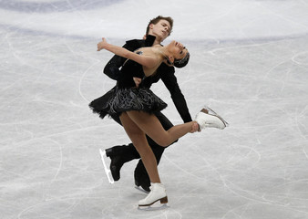 Russia's Ilinykh and Katsalapov compete during the ice dance free dance program at the ISU World Figure Skating Championships in Saitama