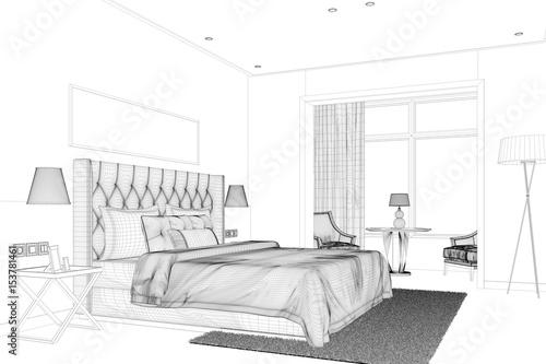 Cad entwurf von schlafzimmer im raumplaner stockfotos for Raumplaner schlafzimmer kostenlos
