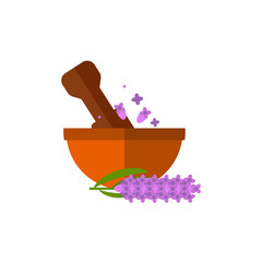 Pestle grinding flowers in mortar icon