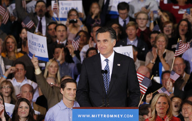 U.S. Republican presidential candidate Romney speaks to supporters at his Florida primary night rally in Tampa