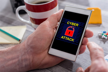 Cyber attack concept on a smartphone
