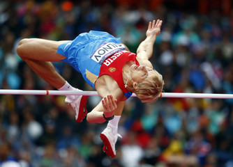 Russia's Andrey Silnov competes in men's high jump final at London 2012 Olympic Games