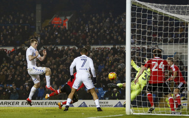 Chris Wood scores Leeds United's first goal