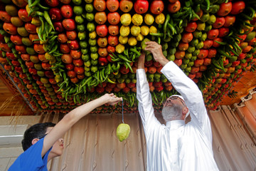 Members of the Samaritan sect decorate with fruits and vegetables a traditional hut known as a sukkah, which is a ritual hut used during the Jewish holiday of Sukkot, on Mount Gerizim on the outskirts of the West Bank city of Nablus