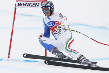 Heel of Italy clears a gate during the second practice of the men's Alpine skiing World Cup downhill race at the Lauberhorn in Wengen