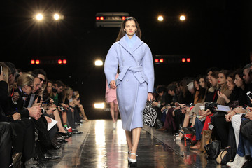 A model presents a creation by French designer Henry as part of his Fall-Winter 2013/2014 women's ready-to-wear for fashion show for house Carven in Paris