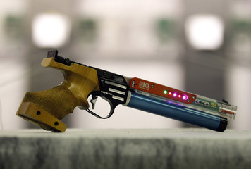 A laser gun is displayed during a training session of the Italian modern pentathlon team at the shooting range in Montelibretti