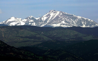 Long's Peak in Rocky Mountain National Park is seen from Boulder