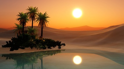 Oasis, sunset in the sandy desert, palm trees over the water, 3d rendering