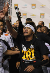 Neymar of Santos celebrates after winning the Paulista Championship final soccer match against Guarani in Sao Paulo