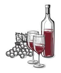 Vector sketch of grapes, wine glass on background for design