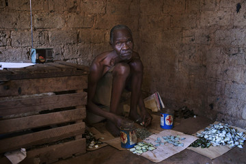 A butterfly wing artist cuts up wings to make mosaics in Bangui