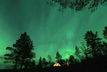 An Aurora Borealis is seen in Northern Norway