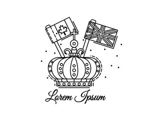 Crown outline with flags of Canada and UK. Black and white vector logo, illustration