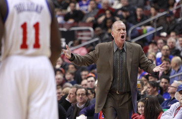76ers head coach Collins shouts at the officials while playing against the Knicks during their NBA basketball game in Philadelphia Pennsylvania
