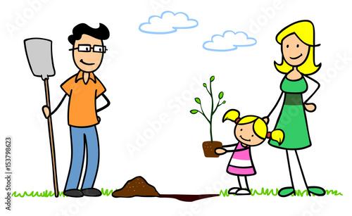 Familie Im Garten Beim Baum Pflanzen Stockfotos Und Lizenzfreie