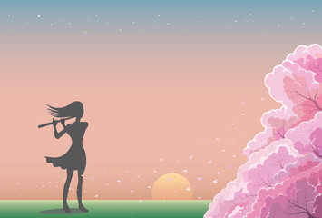 Musician playing a flute. Drawing of a woman playing a flute with garden in spring background. Silhouette vector style.